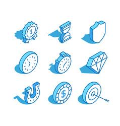 Set web isometric icon hourglass shield vector