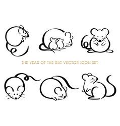 set year rat zodiac symbols vector image