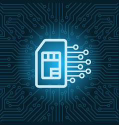 Sim card icon over blue circuit motherboard vector