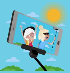 smiling old women doing selfie vector image