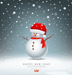 Snowman have hat red santa claus vector