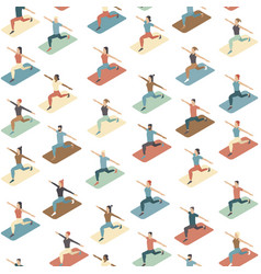 social distancing in a gym people doing exercise vector image