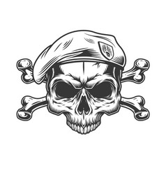 Soldier skull without jaw in beret vector