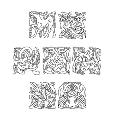 square decorative celtic motifs animals and vector image