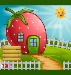 Strawberry house in garden vector
