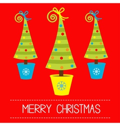 Three Christmas tree in pot Merry Christmas card vector image