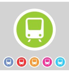 Train travel railway flat icon badge logo set vector image