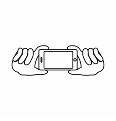 Two hands holding mobile phone icon outline style vector