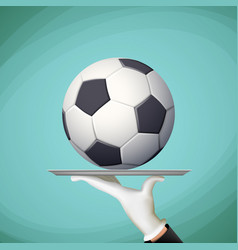 waiter holding a tray with a soccer ball vector image