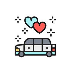 wedding car limousine service flat color line vector image