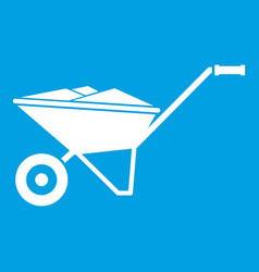 Wheelbarrow icon white vector