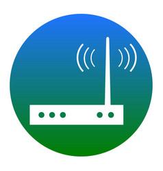 Wifi modem sign white icon in bluish vector