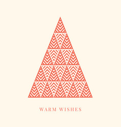 winter holidays card with geometric christmas tree vector image