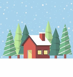 Winter house in flat style vector image