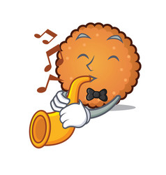 with trumpet cookies mascot cartoon style vector image
