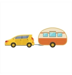 Yellow Car Pulling Retro Trailer vector