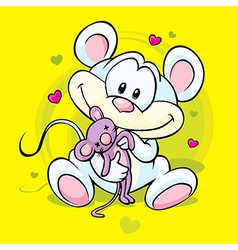 cute mouse holding doll vector image