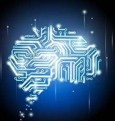human brain as a computer chip vector image