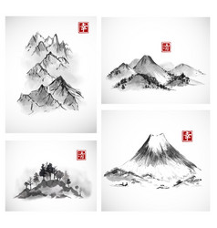 paintings of mountains hand drawn with ink vector image vector image