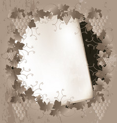 paper and grape frame vector image vector image