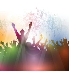 Silhouette of a party crowd on an abstract vector image vector image
