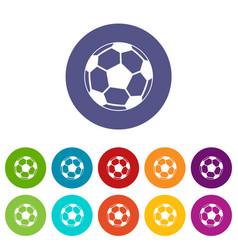 soccer ball set icons vector image