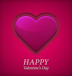 Valentines day greetings card with big pink heart vector