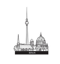 berlin city landmarks label travel germany sign vector image