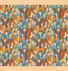 big crowd happy people seamless pattern vector image vector image