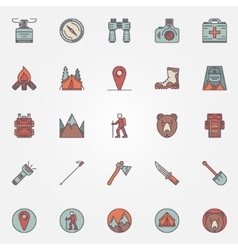 Colorful hiking icons vector image
