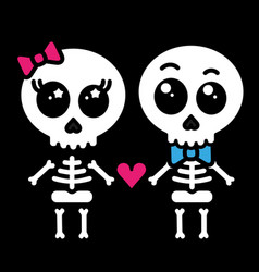 cute kawaii skeleton love couple boy and girl vector image