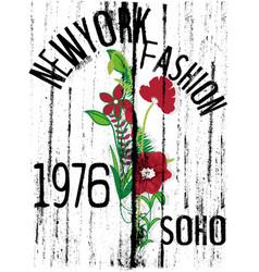 newyprk flowers tee design vector image