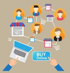 online website shopping deliver social customer vector image vector image
