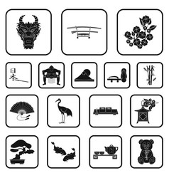 country japan black icons in set collection for vector image vector image
