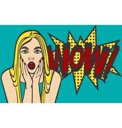 Pop art surprised blond woman face with open mouth vector image