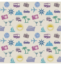Seamless wallpaper pattern with travel icons vector