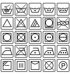 Set of laundry care symbols vector image