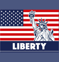 statue of liberty usamap flag and symbol vector image vector image