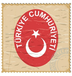 Coat of arms of Turkey on the old postage stamp vector image