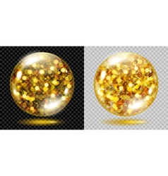 Glass spheres with glowing sparkles vector