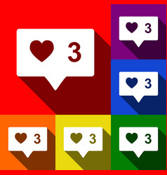 like and comment sign set of icons with vector image