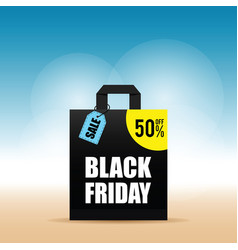 paper bag with black friday and tag on it vector image