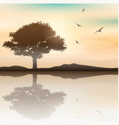 Tree landscape with wind turbines in the vector image vector image