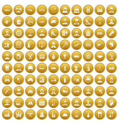 100 job icons set gold vector
