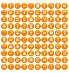 100 sales icons set orange vector