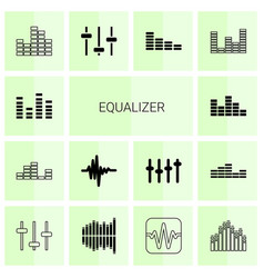 14 equalizer icons vector image