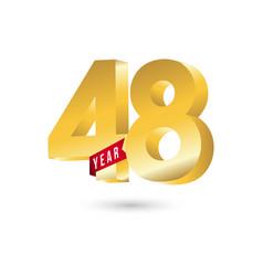 48 year anniversary template design vector