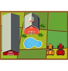 Aerial scene with barns in the farm vector