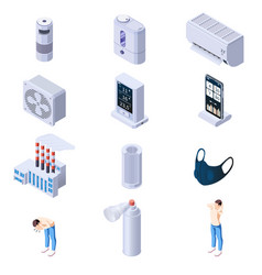 Air purification icon set vector