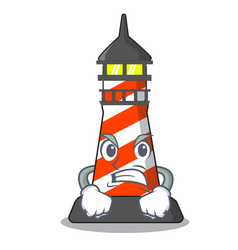 Angry lighthouse on the beach mascot vector